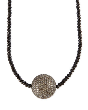 Faceted Black Spinel Necklace with Pave Diamond Bead, 44