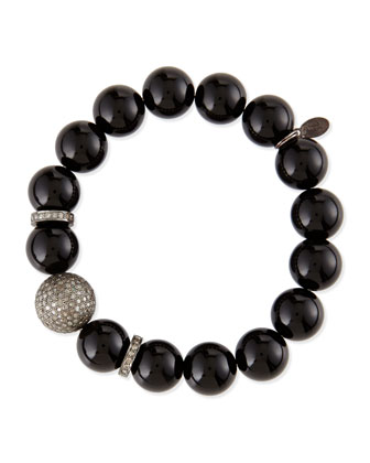 12mm Black Onyx Beaded Bracelet with 10mm Diamond Rondelles