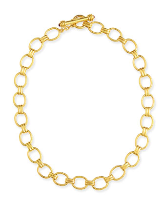 Rimini Gold 19k Link Necklace with Ruby, 17