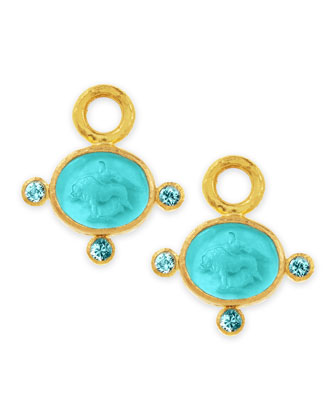 19k Gold Tiny Lion Venetian Glass Earring Pendants, Teal