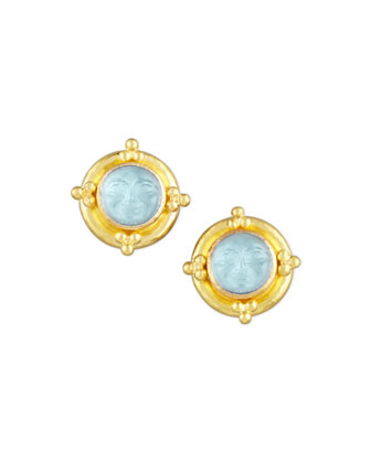 Man-in-the-Moon Intaglio Stud Earrings, Light Aqua