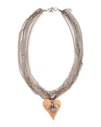 Hammered Pink Gold Heart Necklace with Diamond Crown