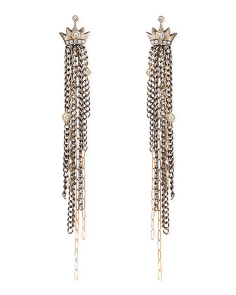Pave Diamond Crown Earrings with Chain Fringe Drops