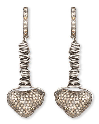 Dangling Pave Diamond Heart Earrings