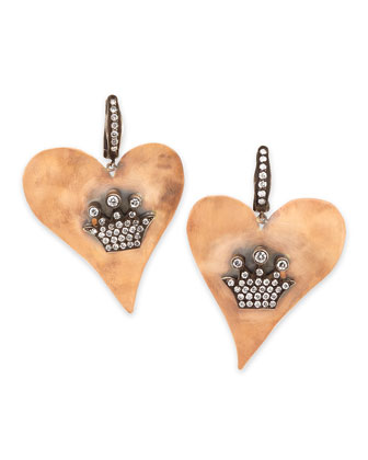 Hammered Pink Gold Heart Earrings with Diamond Crowns