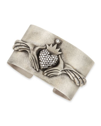 Modern Winged Claddagh Cuff with Diamonds