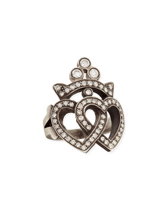 Double Heart & Crown Ring with Diamonds