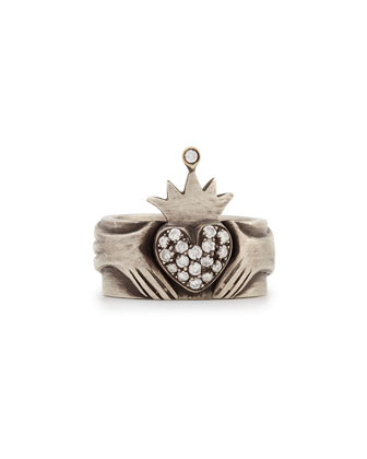 Modern Winged Claddagh Band Ring with Diamonds