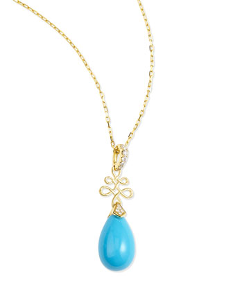 Eloise 18k Yellow Gold Turquoise & Diamond Pendant Necklace