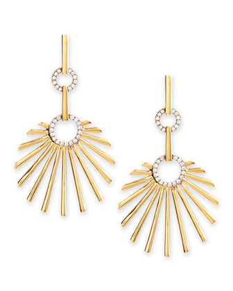 18k Yellow Gold Retro Sun Earrings with Diamonds