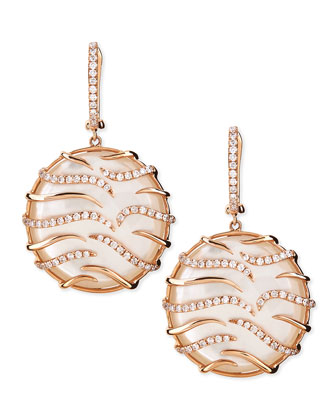 Luna Small Round 18k Pink Gold Diamond Mother-of-Pearl Earrings