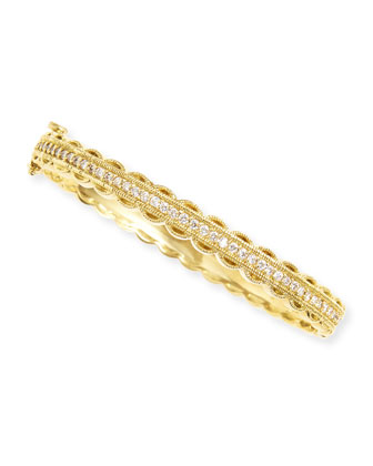 Pave Diamond & Scalloped Edge Bangle