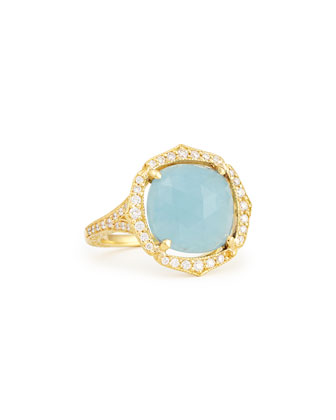 Cushion Rose-Cut Aquamarine & Pave Diamond Ring