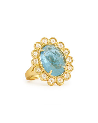 Oval Rose-Cut Aquamarine & Diamond Scalloped Ring