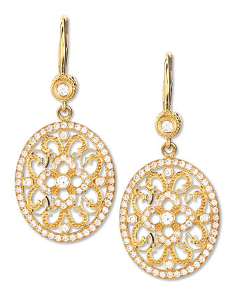 Small Oval Lace Diamond Earrings on French Wire