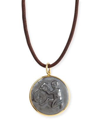 Hematite Aquarius Zodiac Pendant Necklace on Leather Cord