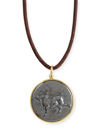 Hematite Capricorn Zodiac Pendant Necklace on Leather Cord