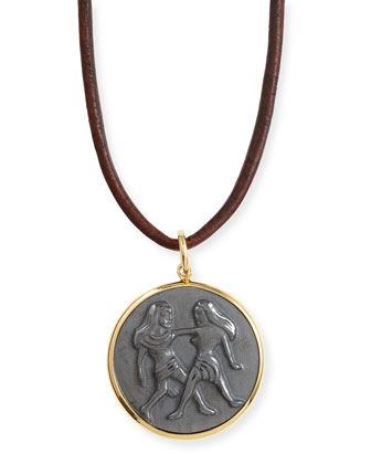 Hematite Gemini Zodiac Pendant Necklace on Leather Cord
