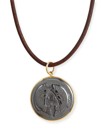 Hematite Pisces Zodiac Pendant Necklace on Leather Cord