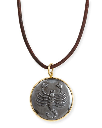 Hematite Scorpio Zodiac Pendant Necklace on Leather Cord