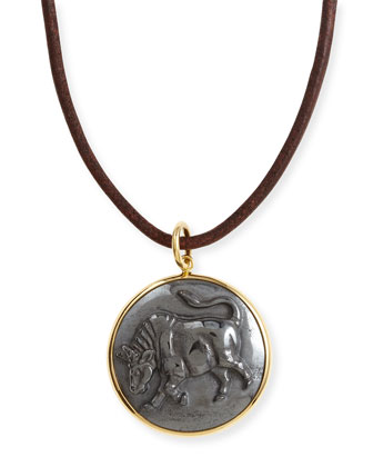 Hematite Taurus Zodiac Pendant Necklace on Leather Cord