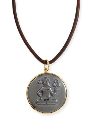 Hematite Virgo Zodiac Pendant Necklace on Leather Cord