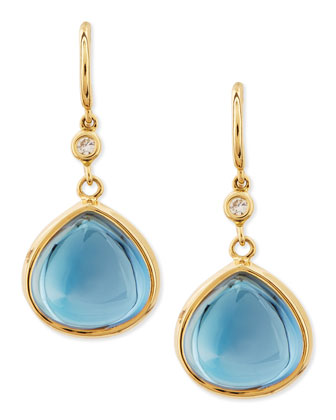 Mogul 18k Gold London Blue Topaz Earrings with Diamond