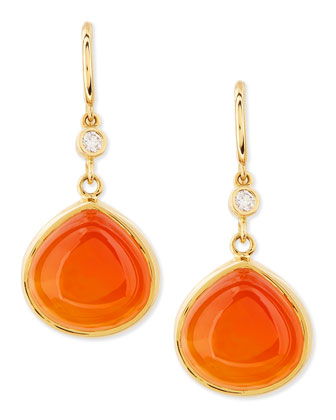 Mogul 18k Gold Orange Chalcedony Earrings with Diamond