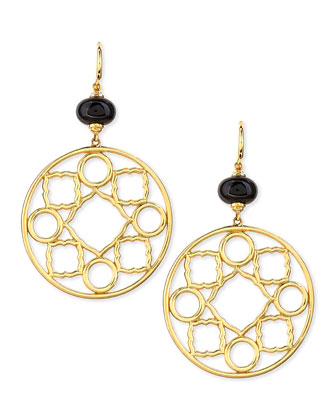 Mogul 18k Gold Large Black Spinel Earrings