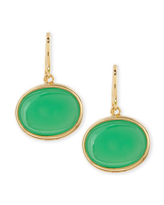 18k Oval Chrysoprase Drop Earrings