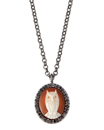Owl Carnelian Necklace with Diamonds