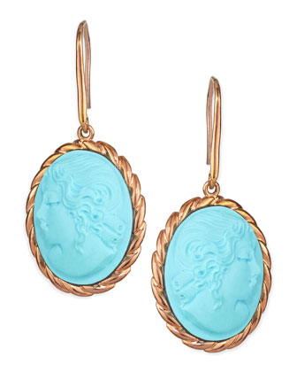 Lady Profile Turquoise Cameo Earrings