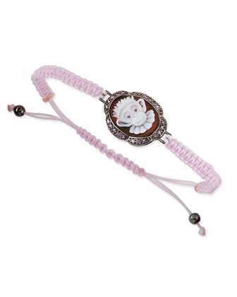 Crowned Monkey Cameo Pink Braided Bracelet