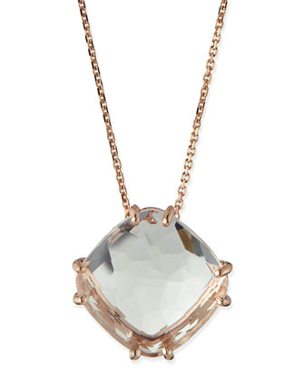 14k Rose Gold Cushion-Cut White Topaz Necklace