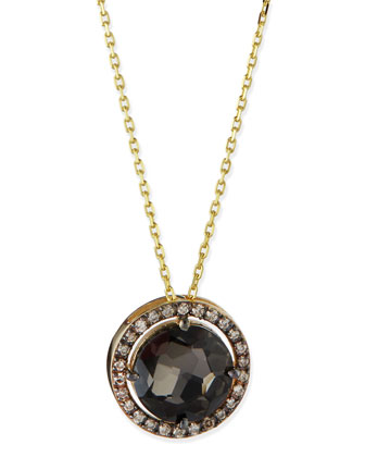 14k Yellow Gold Necklace with Black Night Quartz & Champagne Diamonds