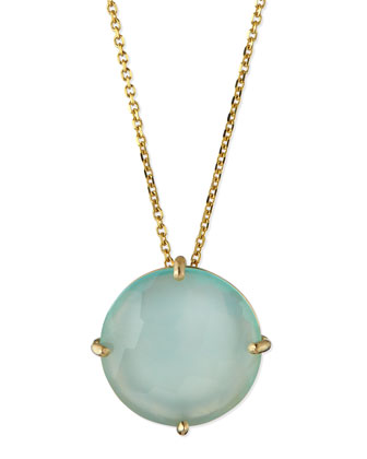 14k Yellow Gold 12mm Round Chalcedony Necklace