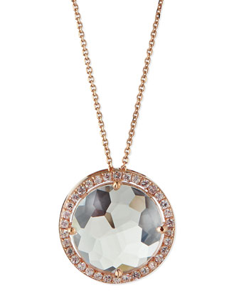 14k Rose Gold White Topaz & Pave Sapphire Necklace