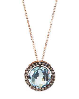 14k Rose Gold Necklace with Blue Topaz & Champagne Diamonds