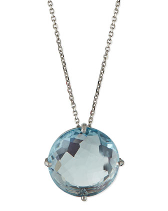 14k White Gold 12mm Blue Topaz Necklace
