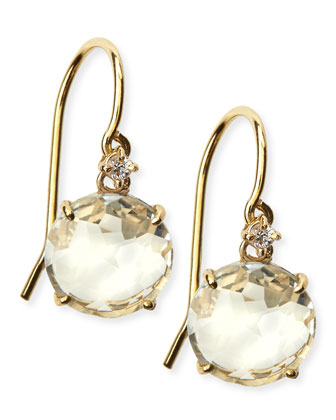 14k Yellow Gold Round-Cut White Topaz & White Sapphire Drop Earrings