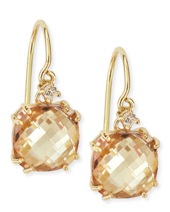 14k Yellow Gold Cushion-Cut Champagne Topaz & White Sapphire Drop Earrings