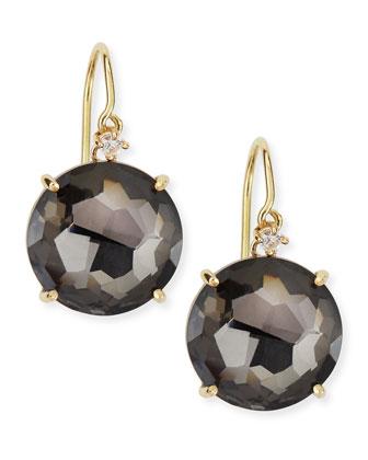 14k Yellow Gold Round Black Night Quartz Drop Earrings
