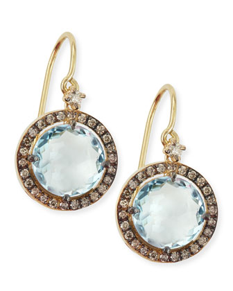 14k Yellow Gold Round-Cut Blue Topaz & Diamond Drop Earrings