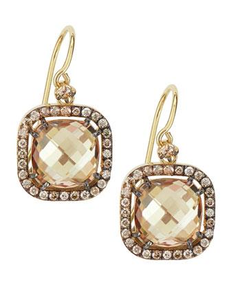 14k Yellow Gold Champagne Topaz & Diamond Drop Earrings