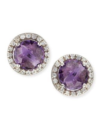 14k White Gold Amethyst & Sapphire Stud Earrings