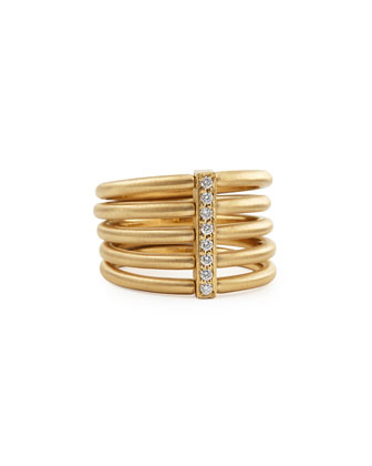 18k Moderne 5-Stack Ring with Pave Diamonds