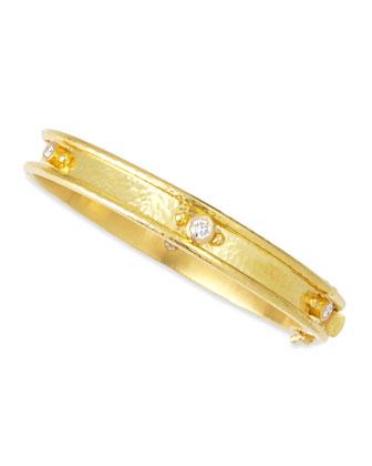 19k Gold Flat Thin Diamond Bangle