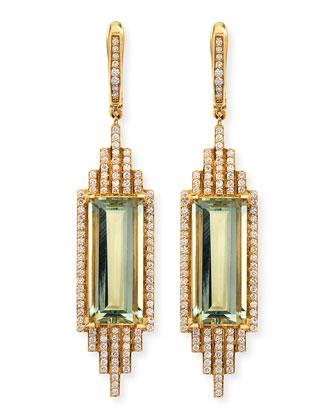 Empire Elongated Prasiolite & Diamond Earrings