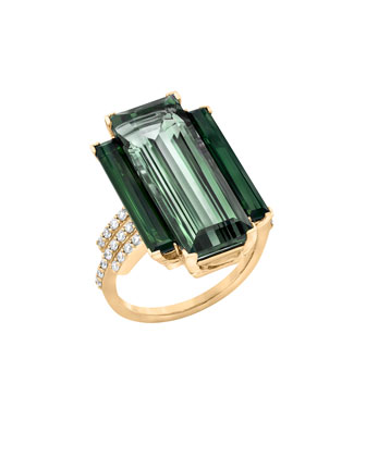 Empire 18k Gold Prasiolite, Tourmaline & Diamond Ring
