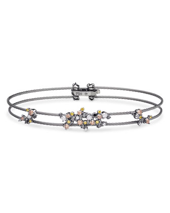 Diamond Confetti Double Wire Bracelet, Black Rhodium Plated Gold